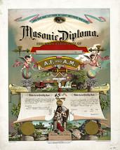 Freimaurer Diplom Maister Maurer Zertifizierung circa 1890 16x20 Plakat Repro - $16.70