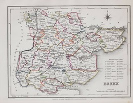 1845 ORIGINAL ANTIQUE COUNTY MAP ESSEX HAND COLOURED by CREIGHTON & LEWIS - $88.32