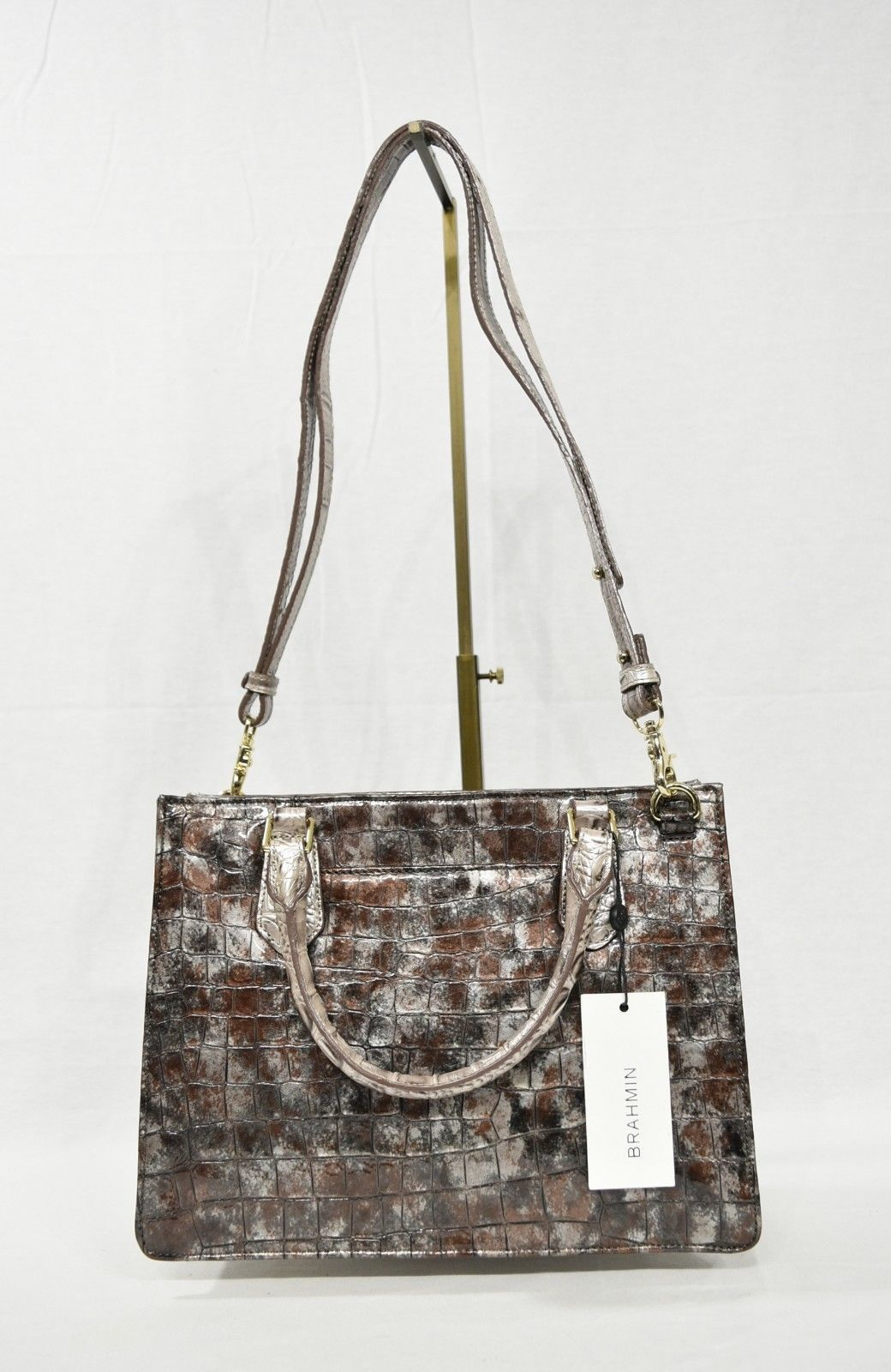 NWT Brahmin Small Camille Leather Satchel/Shoulder Bag in Brown Charente image 9