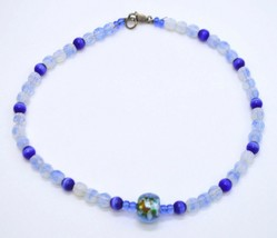 Sterling Silver Blue Art Glass Bead Beaded Choker Necklace Vintage - $24.74
