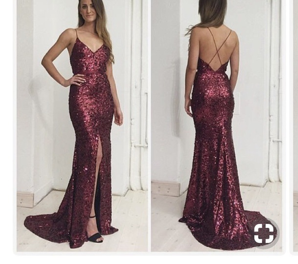 mermaid long prom dress spaghetti straps backless sequins slit evening dress