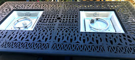 Propane fire pit dining table and chairs cast aluminum patio furniture 9 piece  image 5