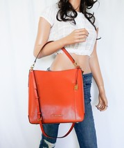 MICHAEL KORS HAYES PEBBLED LEATHER LG BUCKET SHOULDER BAG ORANGE(PERSIMMON) - $107.90