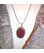 """Huge   Cherry Ruby  Sterling Silver PENDANT+  20"""" sterling  chain FREE ... - $38.00"""