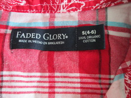 Ladies red plaid cap sleeve button down shirt Size S by Faded Glory MMAR... - $8.60