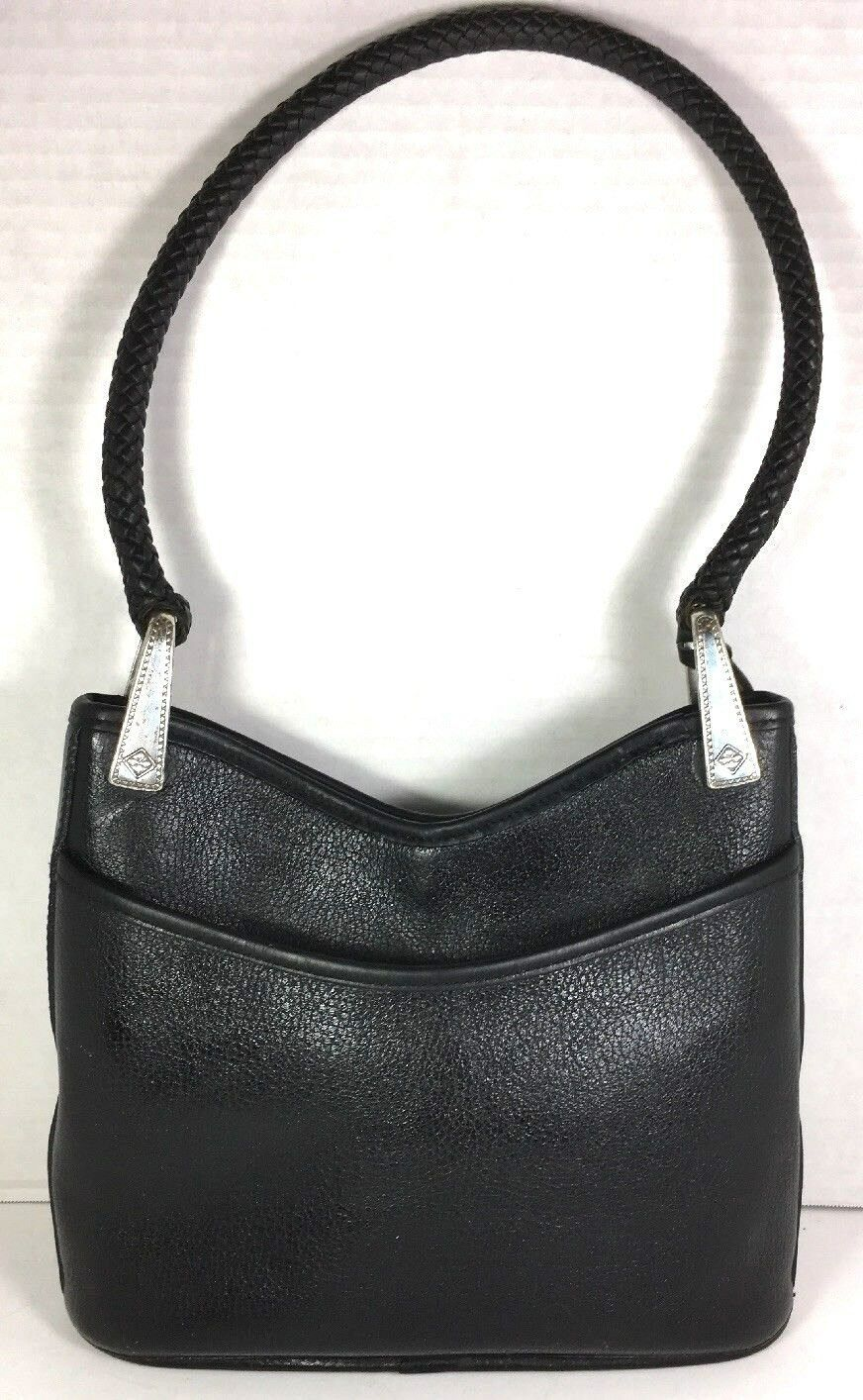Brighton Vtg Black Pebbled Leather Reptile Print Trim Braided Strap Shoulder Bag