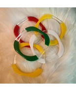 Set of 5 Lucite Bangles - Square Red Yellow White Green and Clear. Very ... - $53.10