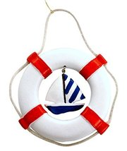 Life Ring Christmas Ornament with Hanging Embellishment (Sailboat)