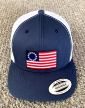 Betsy Ross Flag Hat First US Flag SnapBack Trucker Cap Handcrafted in th... - $24.95