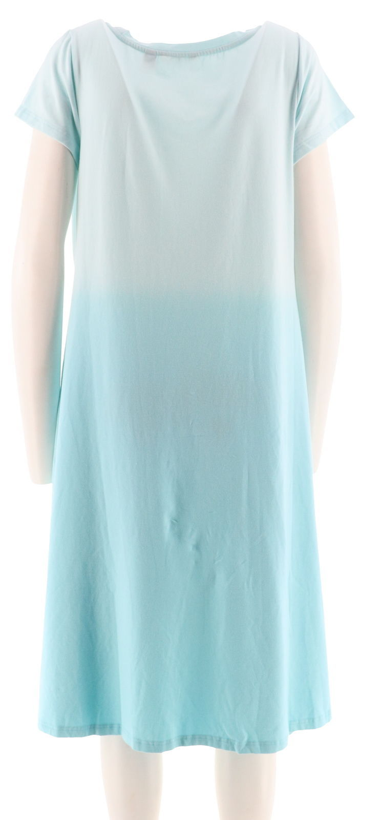 H Halston Petite Short Slv Dip Dye Knit Midi Dress Capri Blue PXS NEW A289381