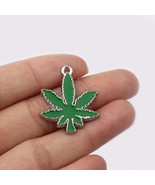 10pcs Green pot Leaf Weed Charms Pendant for Necklace Jewelry 28x24mm - $12.74