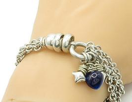 925 Sterling Silver - Vintage Heart Charmed Multi-Strand Chain Bracelet ... - $126.37