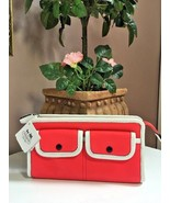 New Coach Wallet Bright Coral & Snow Legacy Two Toned Zippy  48885 W23 - $94.04