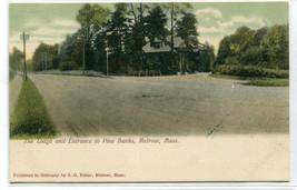 Lodge Entrance Street Scene Pine Banks Melrose Massachusetts 1907c postcard - $7.43