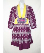 NWT Odd Molly 4 Continents X-Stitch Dress sz 2 8 Cotton Embroidered Purp... - $62.99