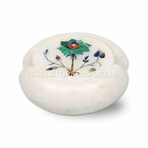 White Tea Cup Coaster Set Piece of 6 Malachite Art Interior Halloween Gift... - $228.90