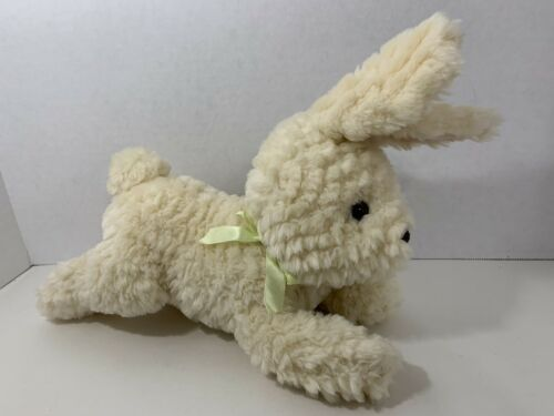 Primary image for Gymboree plush Easter bunny rabbit tan cream yellow green ribbon bow lying down