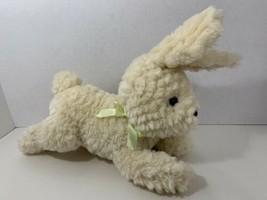 Gymboree plush Easter bunny rabbit tan cream yellow green ribbon bow lying down - $9.89