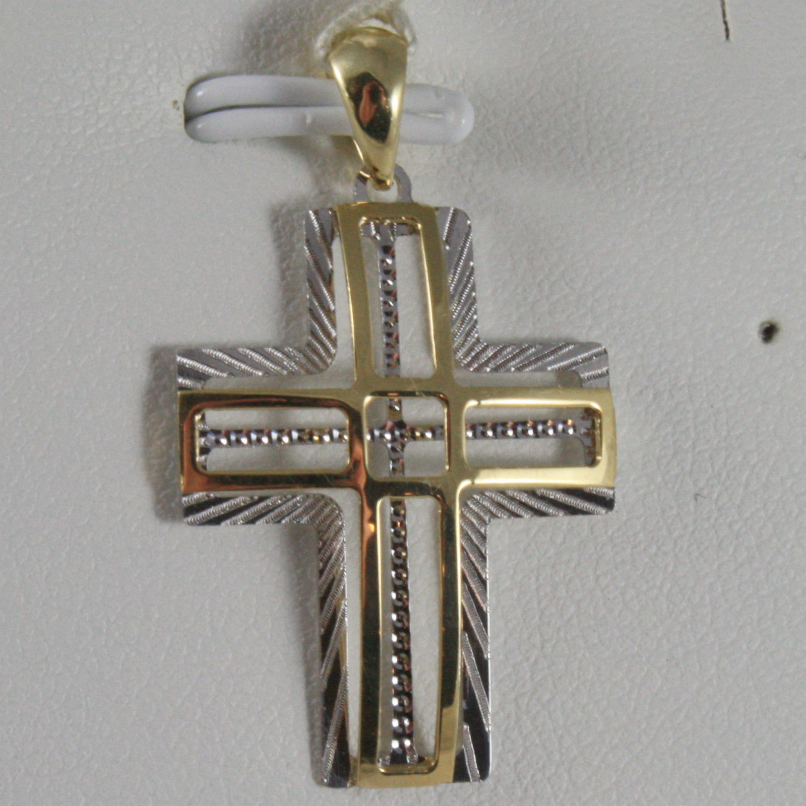 SOLID 18K WHITE & YELLOW GOLD CROSS, FINELY WORKED STYLISED 1.26, MADE IN ITALY
