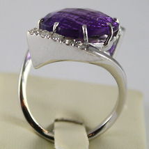 18K WHITE GOLD RING DIAMONDS ct0.38 AMETHYST ct11.50 AMAZING CUT, MADE IN ITALY image 5