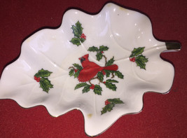 Lefton China Cardinal and Holly Pattern small leaf shaped candy dish - $9.00