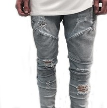 New Men hip hop Men Jeans masculina Casual Denim distressed Men's Slim J... - $40.80