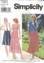Simplicity Misses Casual Summer Dress with Vest #7051 Size 4-8  - $4.94