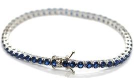 Bracelet Tennis Argent 925, Zirconia Cubique Bleu 3 mm, Longueur 18 CM image 2
