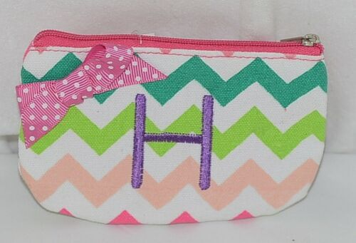 GANZ Brand Multi Color Chevron Monogram H Coin Purse With Pink Polka Dot Bow