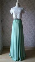 Boho Wedding Bridesmaid Dress Chiffon Maxi Skirt Short Sleeve Crop Lace Top  image 3