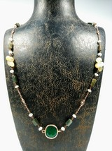 Super fine handmade natural jade moonstone rutile quartz handmade necklace  - $127.71