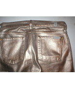 New 7 FAM Jeans For All Mankind Womens Leather Coated Gold Bronze Metall... - $88.00