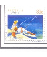 AUSTRALIA USED STAMP 39C FISHING MOUNTAIN A421 - £0.75 GBP
