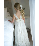 V Neck V Back Lace White Flower Girl Dresses - $79.99+