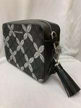 Michael Kors Signature Floral Metallic Camera Bag Black/Silver - $29.10