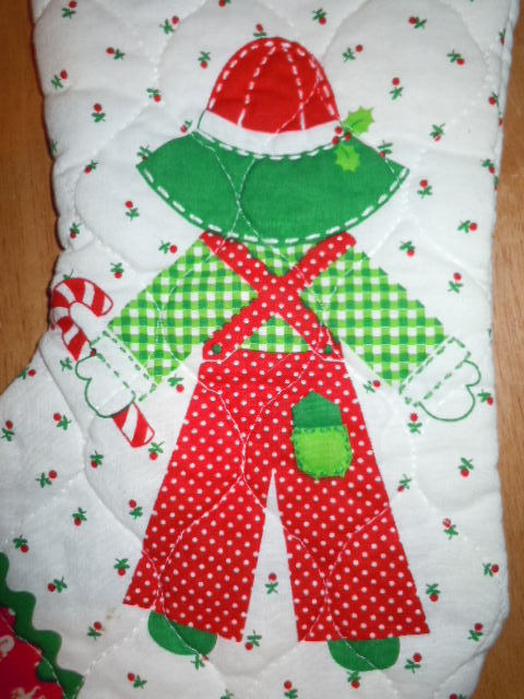 Holly Hobbie Boy Quilted Christmas Stocking