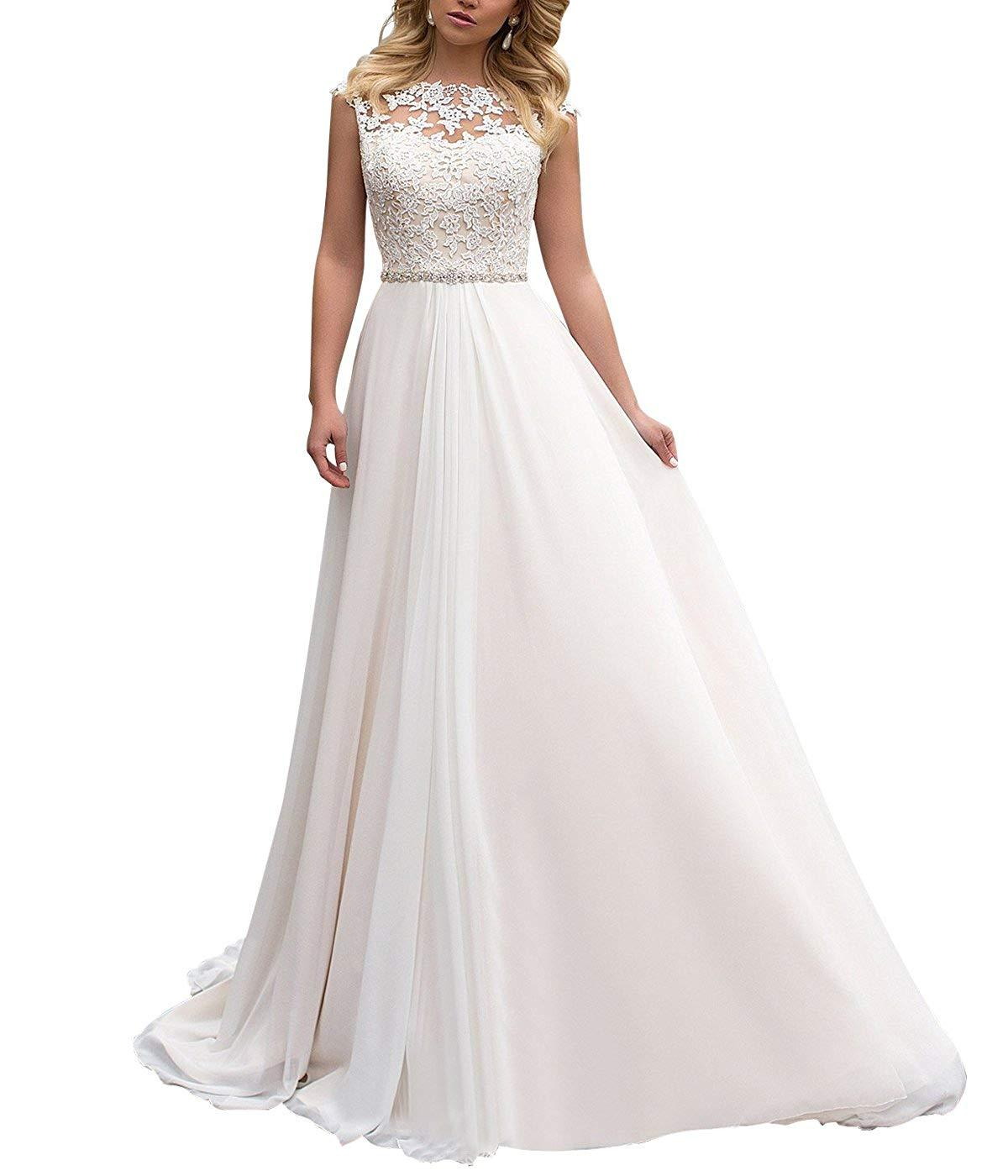 High Neck Lace Wedding Dress Chiffon with Beads Belt Long Beach Bridal Gowns