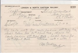 London & N. Eastern Railway Traffic Dept 1948 To Chief Acc. Edinburgh No... - $7.59