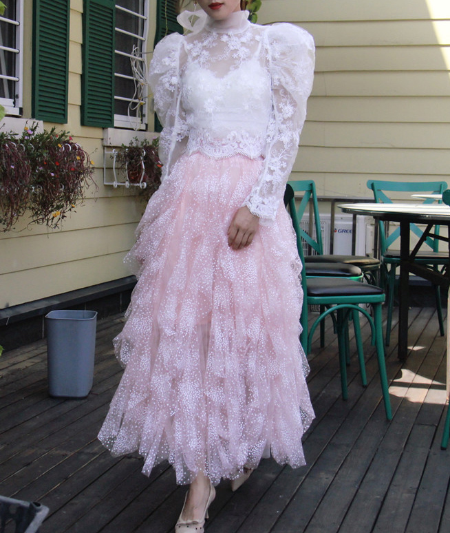 Blush flower tulle skirt  1