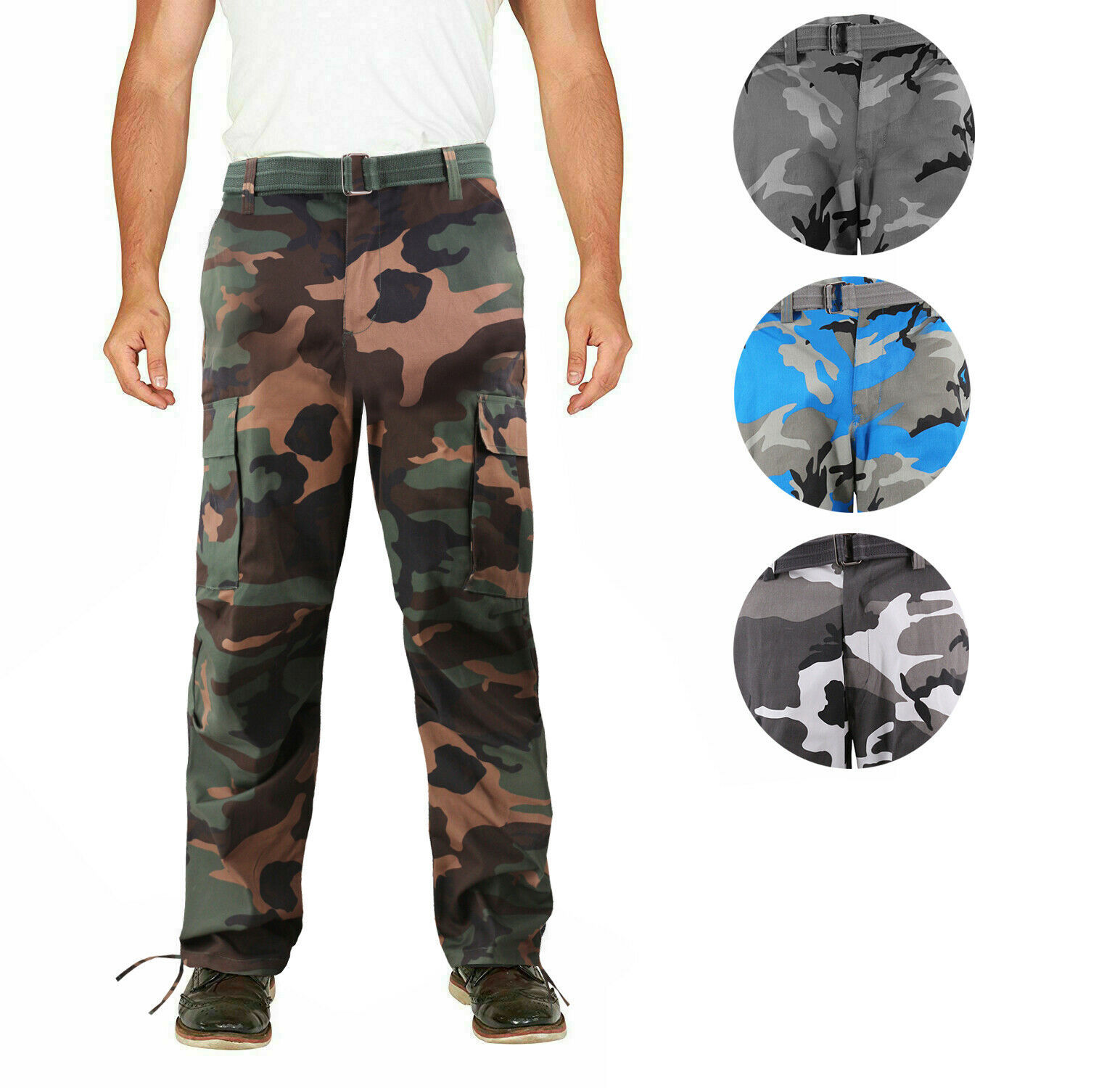 Men's Camo Military Tactical Work Combat Army Slim Fit Twill Cargo Pants