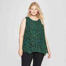 Women's Plus Size Ava & Viv Sleeveless Animal Print Pleated Tank Green S... - $9.89