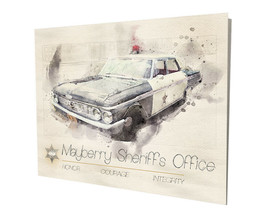 Mayberry Sheriff's Ford Galaxie Patrol Car Deputy Fife 16x20 Aluminum Wa... - $59.35