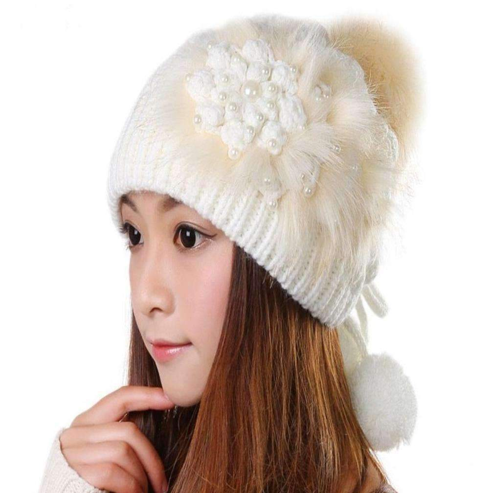 Y dress for less beanies one size beige cute faux fur beading flower women beanies 1390563917855