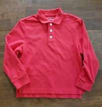 LL Bean Boys Long Sleeve Polo Shirt Size Small 4 Red Cotton - $7.99