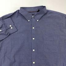 Van Heusen Dress Shirt Mens 18 Blue White Long Sleeve Classic Fit Check ... - $18.95