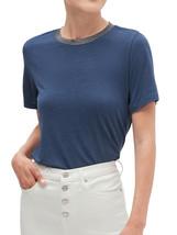 Banana Republic Womens Blue Heath Shine Trim Collar Tee T-Shirt Medium M... - $34.64