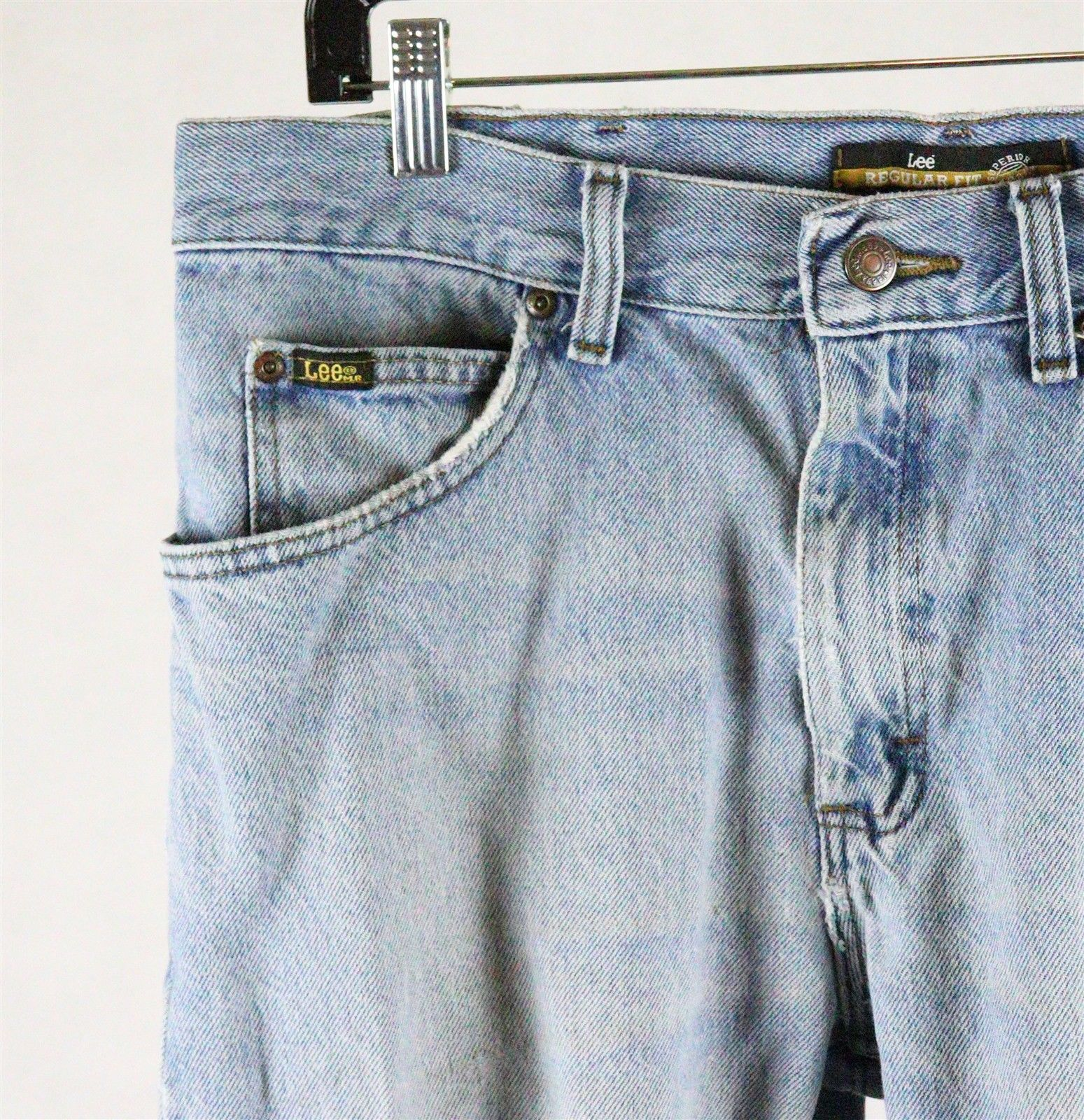 Lee Mens Regular Fit Straight Leg Destroyed Distressed Jeans Size 34 x 30
