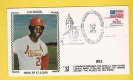 LOU BROCK ALL TIME BASE STEALING RECORD SAN DIEGO CA AUG 19,  1977 Z SILK - $2.98