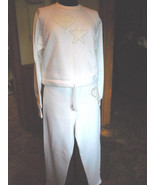 Women's JERZEES Shopping Sweats Altered Pearls & Sequins Added White (M ... - $42.00