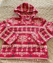 Childrens Place Girls Pink White Gray Snowflakes Fleece Pullover Hoodie 5-6 - $6.43